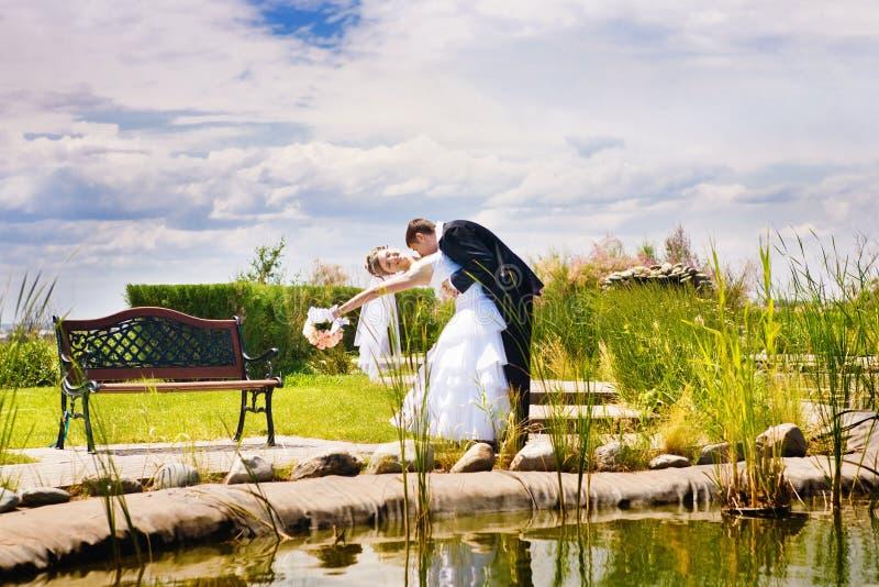 Kuss der Braut und des Bräutigams stockbild