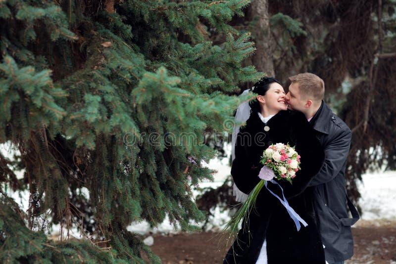 Kuss im Winter lizenzfreie stockfotografie