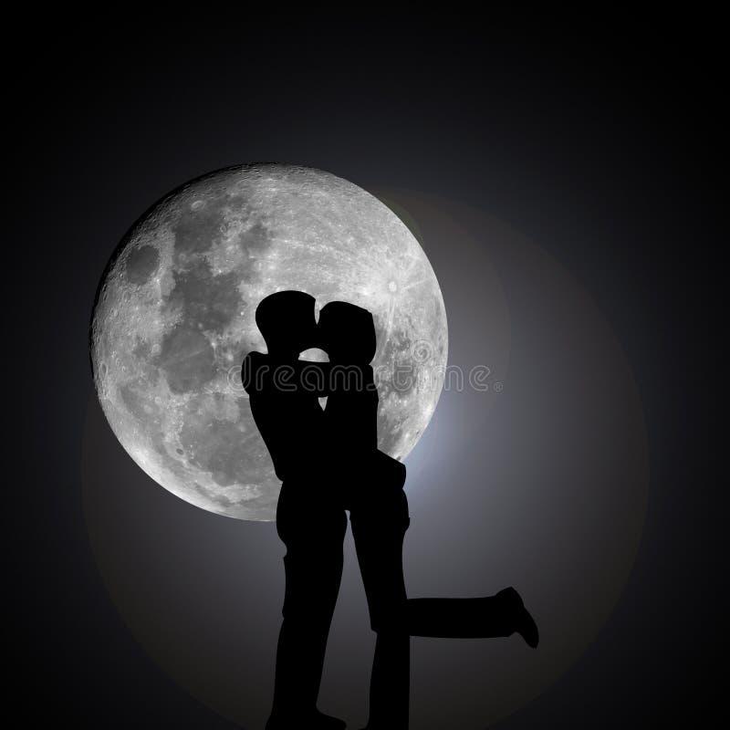Kussende minnaars 's nachts met maan stock illustratie