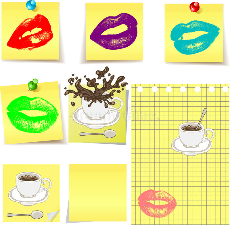 Kusslippen auf gelbem Aufkleber stock abbildung