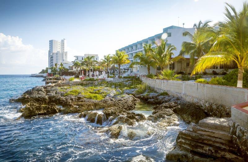 Kust av den Cozumel ön, Quintana Roo, Mexico royaltyfria foton