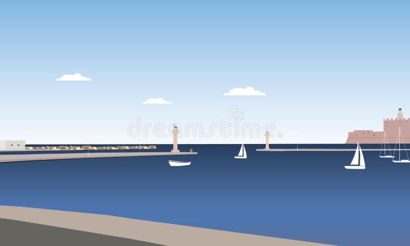 Kust av den Rhodes ön med havet, hed och kolonner med statynolla royaltyfri illustrationer