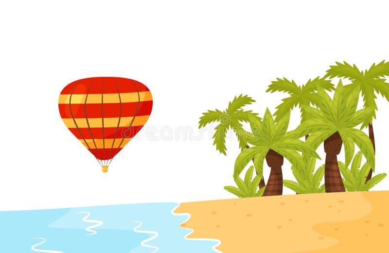 Kust av den tropiska ön, luftballong i luften Sommarlandskap med palmträd, sand och havvatten Plan vektor vektor illustrationer