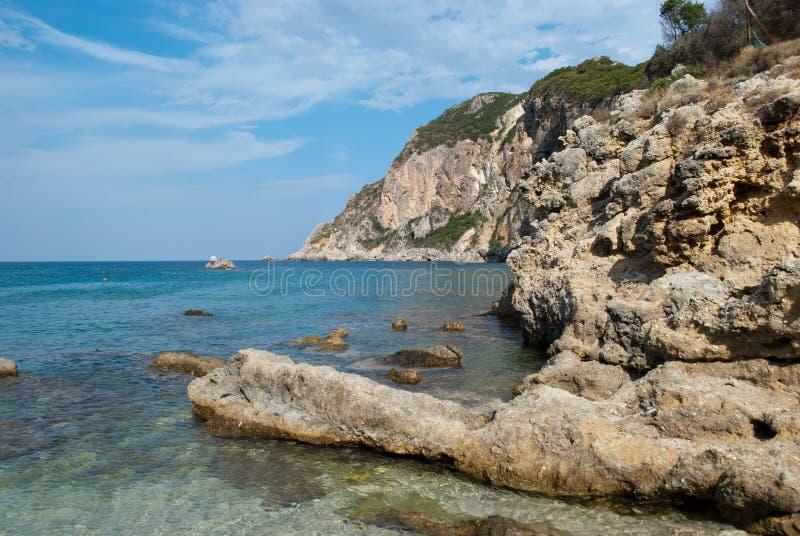 Kust av Korfu royaltyfria bilder