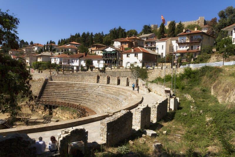 Kust av sjön Ochrid som ses från den Ochrid staden Ohrid och sjön Ohrid är den naturliga UNESCO och kulturarvplatser arkivfoto