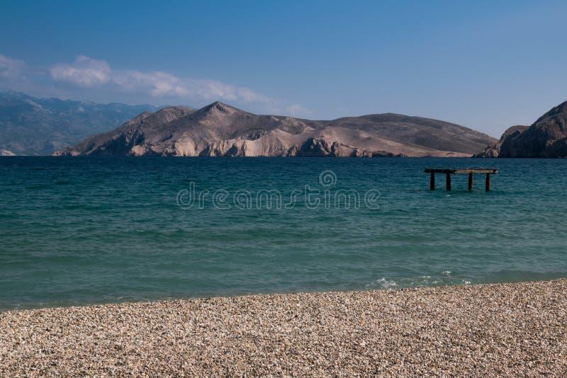 Kust in Baska, eiland Krk, Kroatië royalty-vrije stock afbeelding