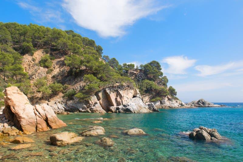 Kust Costa Brava i Spanien arkivbilder