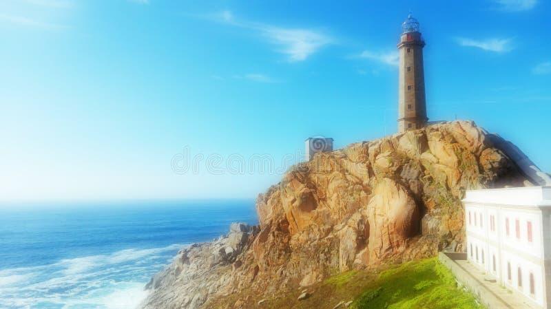 Kust för ¡ n för Galicia Spanien Camariñas Faro Vilà ¡ n Cabo Vilà av död Camelle Museo del Man royaltyfria bilder