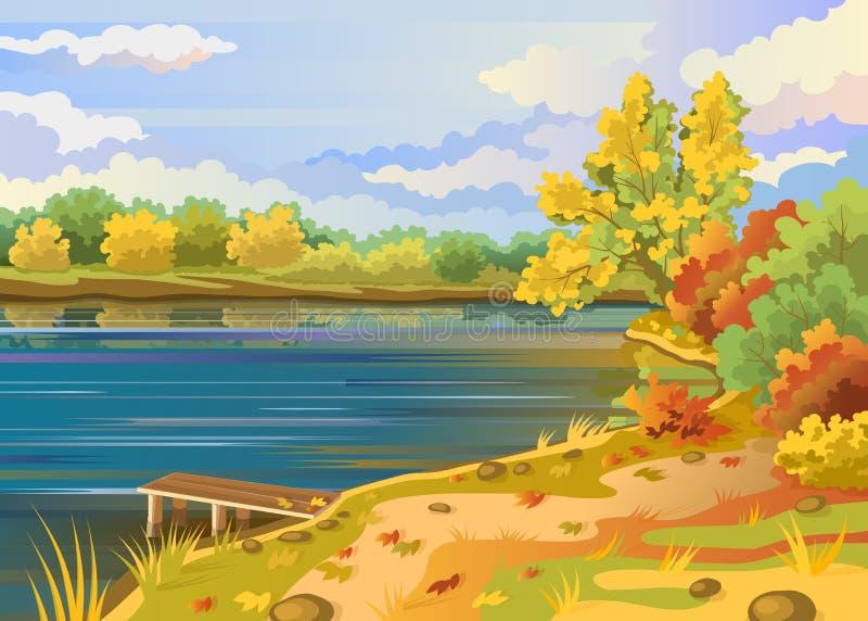 Kust för flod för höstlandskap utomhus vektor illustrationer