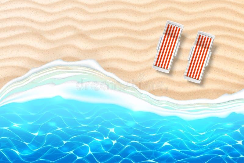 Kust för sand för vågor för vektorsjösidastrand azur royaltyfri illustrationer