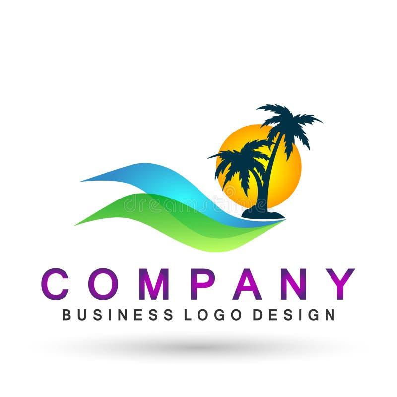 Kust för soluppgång för design för logo för vektor för palmträd för kokosnöt för strand för ferie för turism för hotell för logo  royaltyfri illustrationer