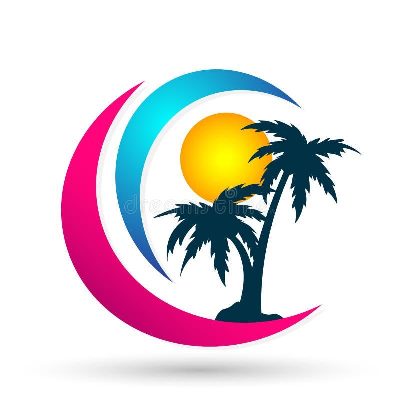 Kust för soluppgång för design för logo för vektor för palmträd för kokosnöt för strand för ferie för turism för hotell för logo  stock illustrationer
