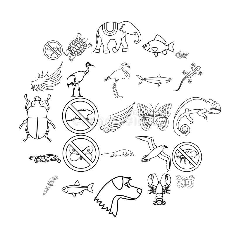 Kust- faunasymbolsuppsättning, översiktsstil vektor illustrationer