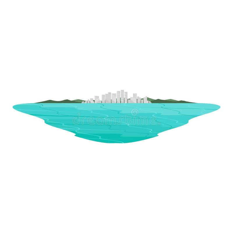 Kust- fjärd- och havslandskap för stad royaltyfri illustrationer
