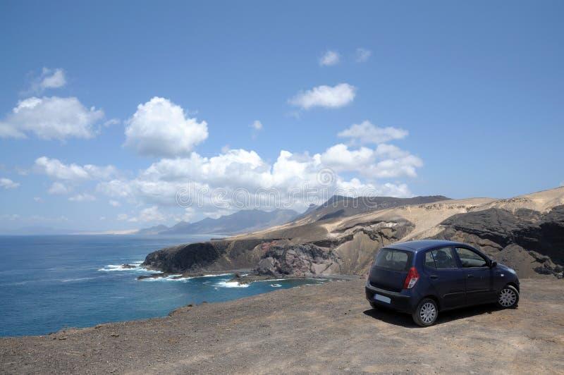 kust fuerteventura västra spain arkivbilder