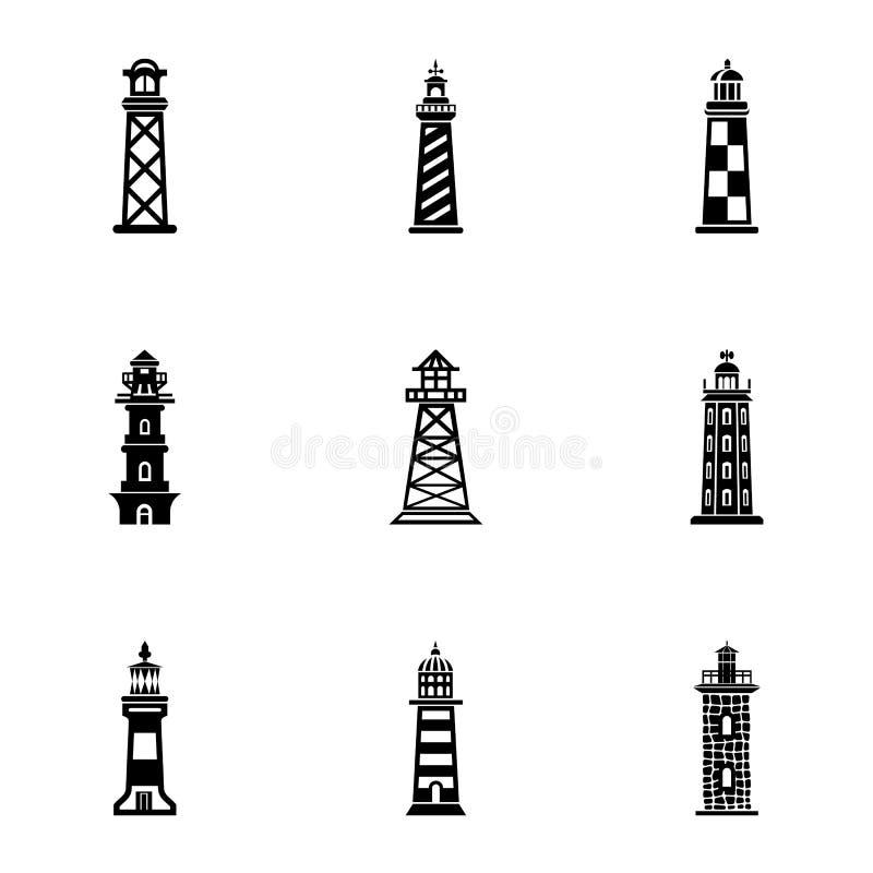 Kust- fyrsymbolsuppsättning, enkel stil vektor illustrationer