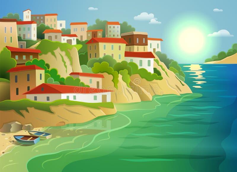 Kust- havsby som bor den färgrika affischen stock illustrationer