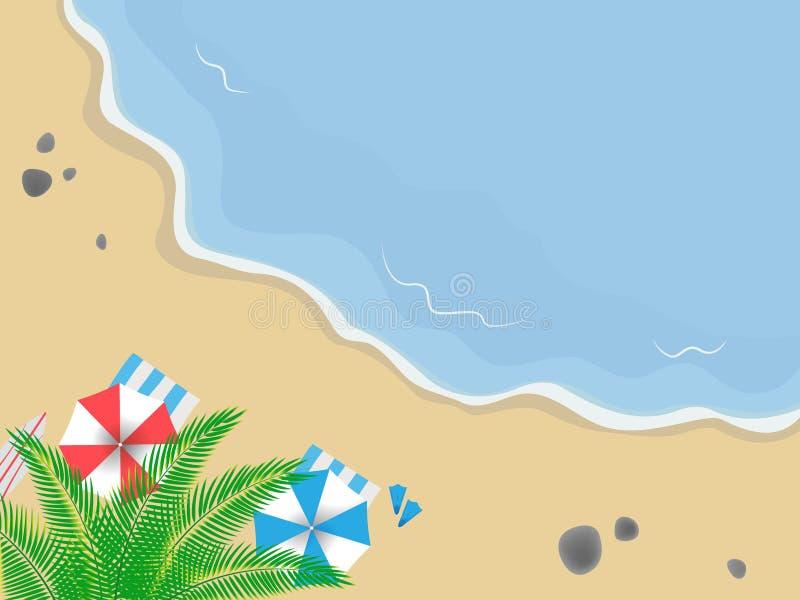 Kust hoogste mening Zandig strand met golven, palm en stenen Gekleurde paraplu's en handdoeken stock illustratie