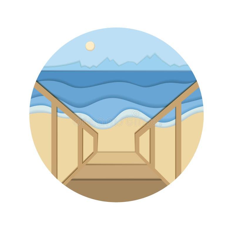 Kust illustration för vektor för snitt 3d för papper för havskust vektor illustrationer