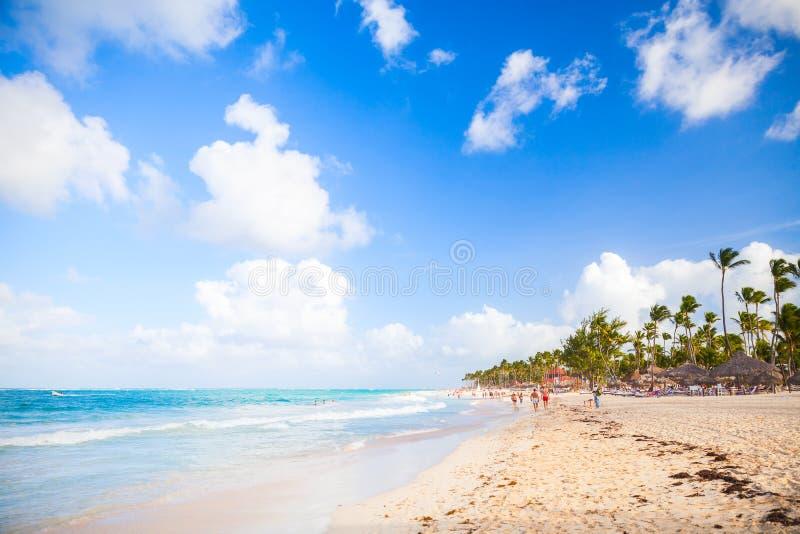 Kust- karibiskt landskap Sikt för sandig strand arkivbild