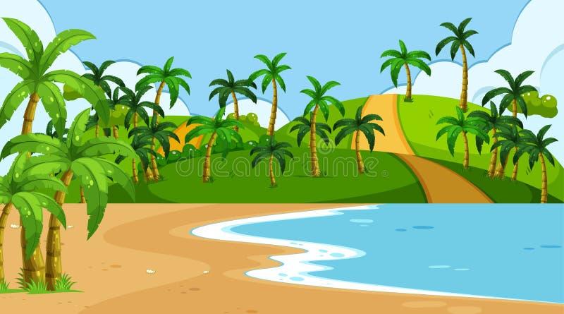 Kust- landskap för tomt naturstrandhav stock illustrationer