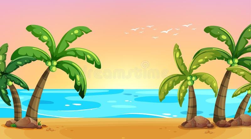 Kust- landskap för tomt naturstrandhav royaltyfri illustrationer