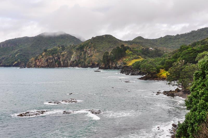 Kust- landskap i den Coromandel halvön, Nya Zeeland arkivbild