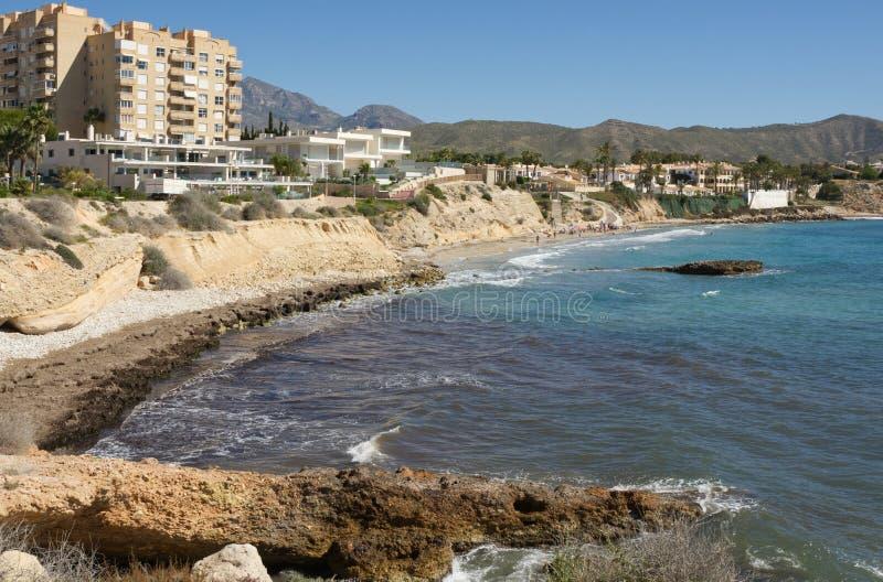 Kust nära El Campello, Spanien royaltyfri foto
