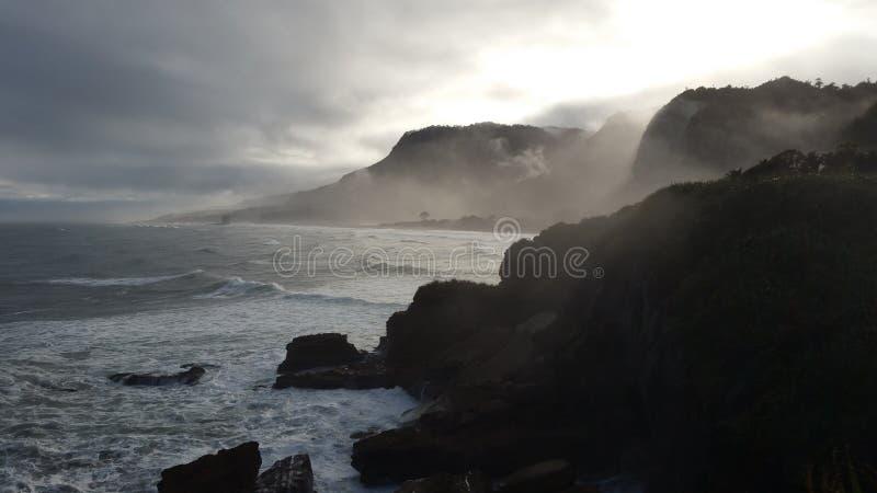 kust nya västra zealand arkivfoto