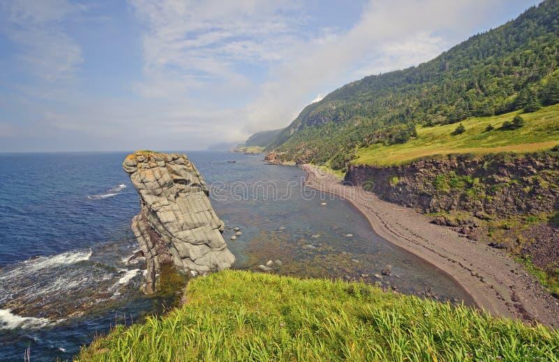 Kust- panorama på en avlägsen kust fotografering för bildbyråer