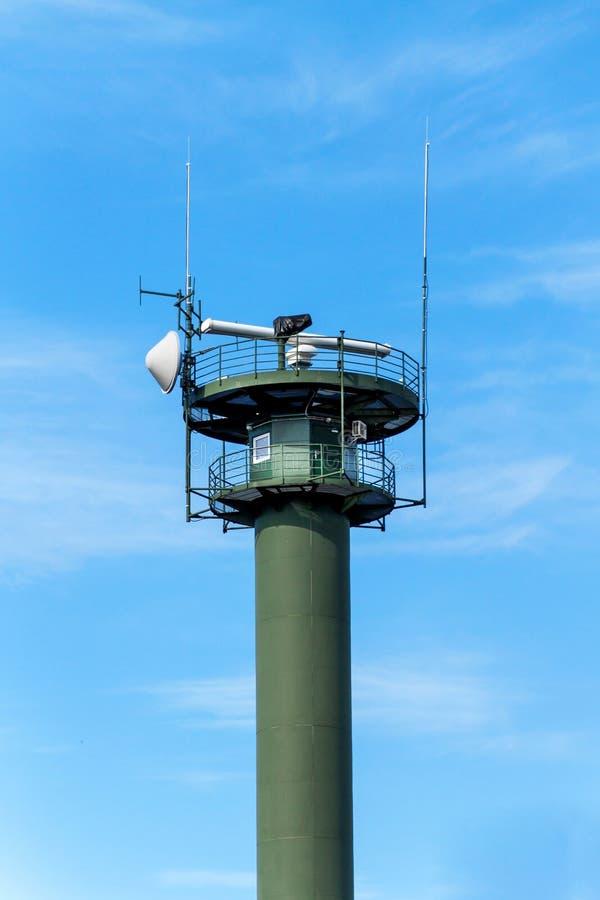 Kust- radar i Polen Östersjön Säkerhet av maritim transport Övervakning av sändnings royaltyfri fotografi