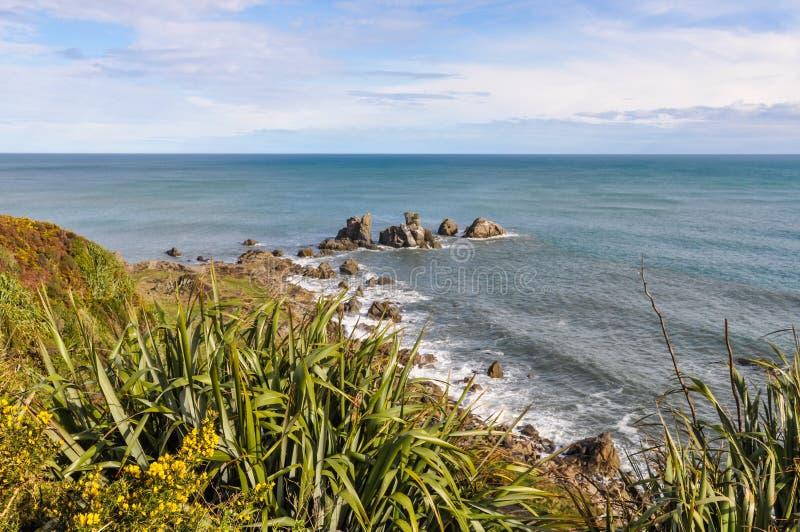 Kust- sikt i udde Foulwind, Nya Zeeland royaltyfri foto