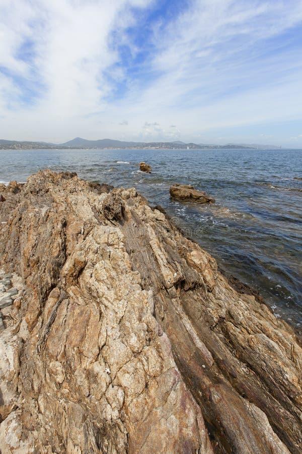 Kust- sikter av St Tropez arkivbild