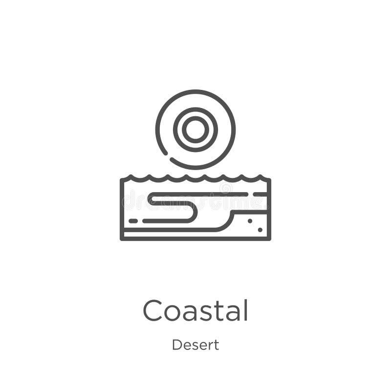 kust- symbolsvektor från ökensamling Tunn linje kust- illustration för översiktssymbolsvektor Översikt tunn linje kust- symbol vektor illustrationer