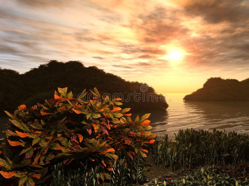 kust- trädgårds- solnedgång stock illustrationer