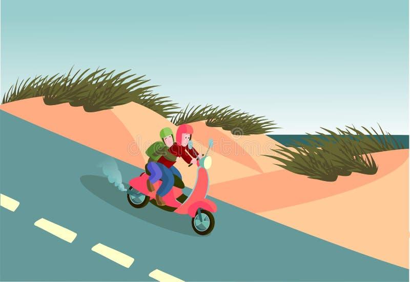 Kust- turnera sparkcykeln vektor illustrationer