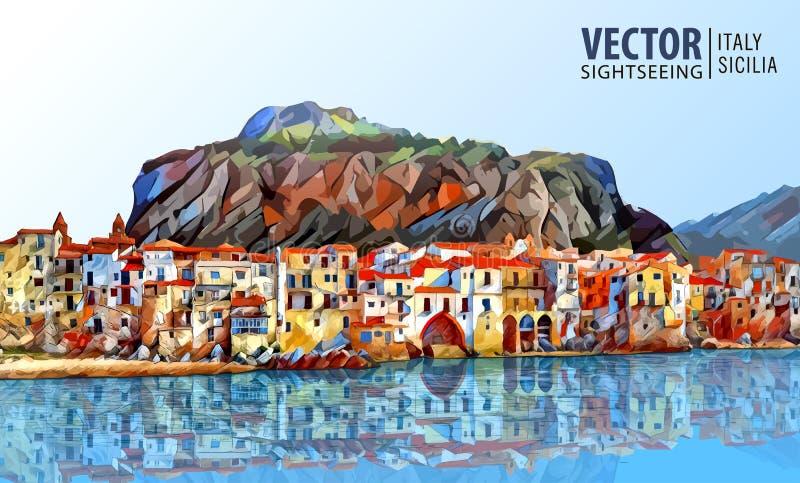 Kust van Cefalu, Palermo - Sicilië Architectuur en oriëntatiepunt Landschap Oude cityscape Vector illustratie stock illustratie