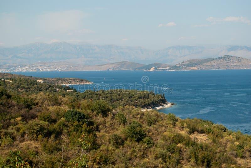 Kust van Korfu stock afbeeldingen