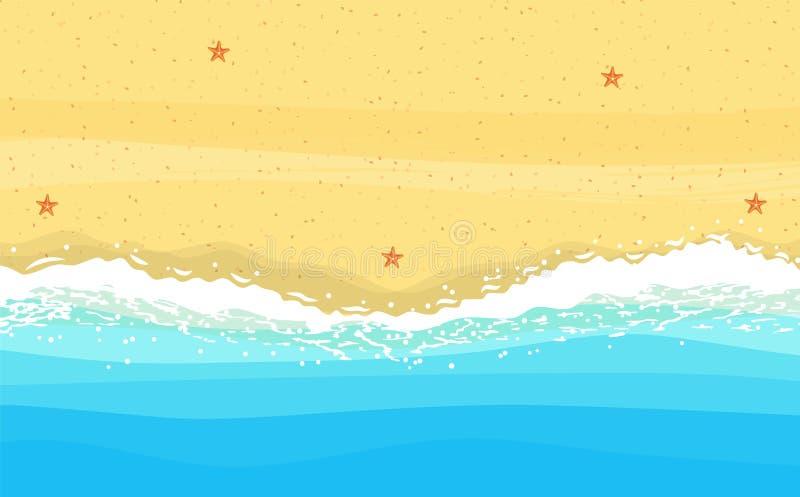 Kust van overzees, oceaan met zand, royalty-vrije illustratie