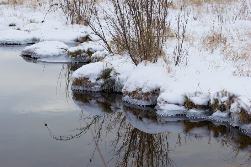Kust van reservoirs met sneeuw en ijs worden behandeld dat royalty-vrije stock fotografie