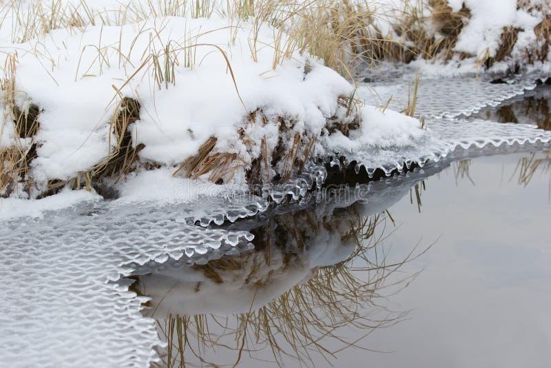 Kust van reservoirs met sneeuw en ijs worden behandeld dat royalty-vrije stock foto's