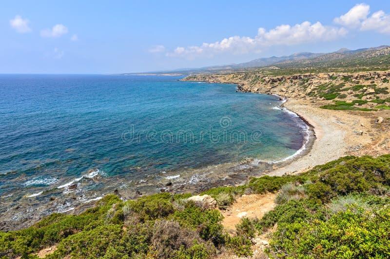 Kust van schiereiland Akamas op Cyprus stock fotografie