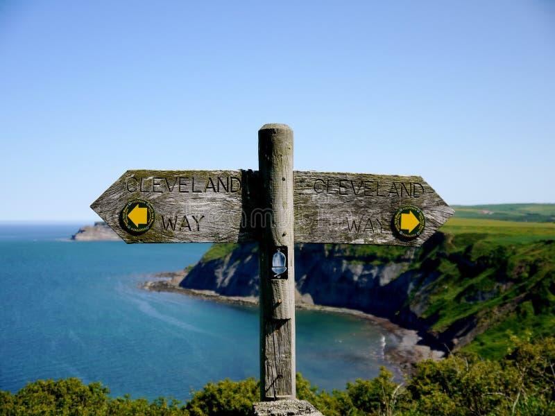 Kust- vandringsledSignage fotografering för bildbyråer
