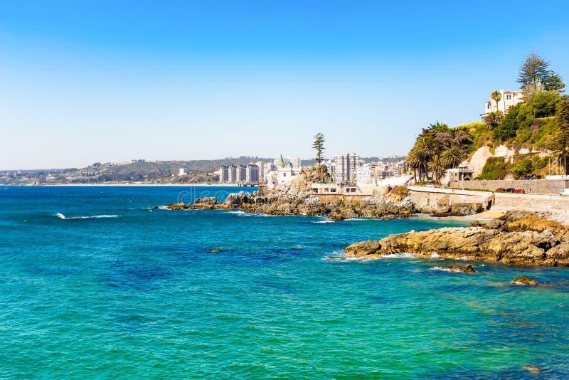 Kust in Vina del Mar, Chili royalty-vrije stock afbeelding