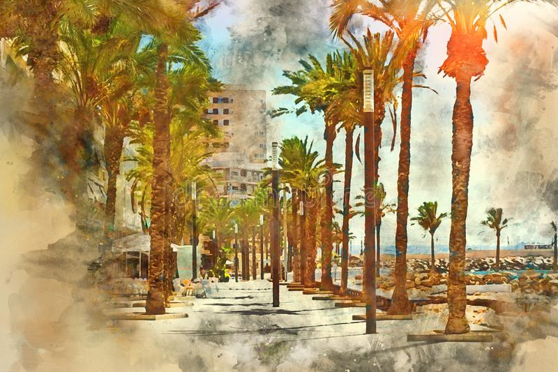 Kust voetstraat, Torrevieja vector illustratie