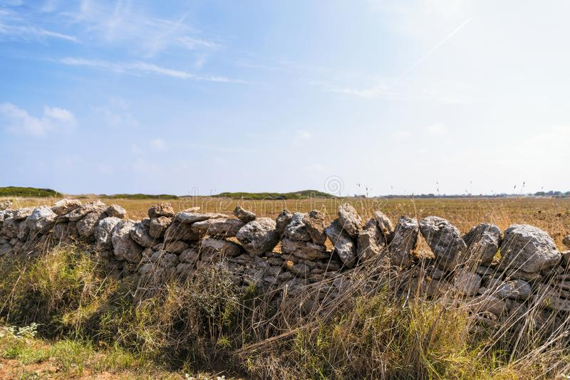 Kustduin natuurreservaat op de kustlijn van Ostuni in Salento op het Adriatische overzees stock foto's