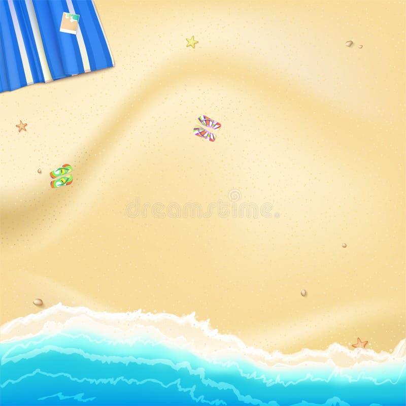 Kusten av havet, havet med guling, guld- sand spridd längs kusten vaggar och havsstjärnor Blå strand som är matt med fotoet vektor illustrationer