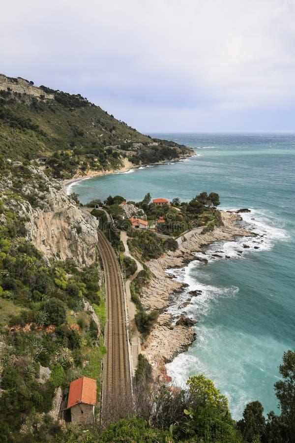 Kusten av italienaren Riviera arkivfoto