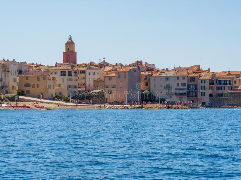 Kusten av Saint Tropez, Frankrike arkivbild