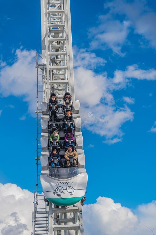 Kustfartyg på det Fuji-q höglandnöjesfältet fotografering för bildbyråer